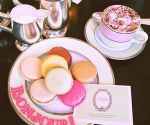 coffe, macaroons, and food image