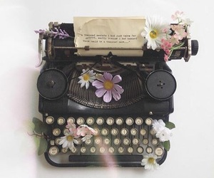 flowers, vintage, and typewriter image
