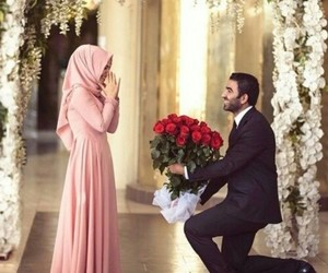 couple, muslim, and hijab image