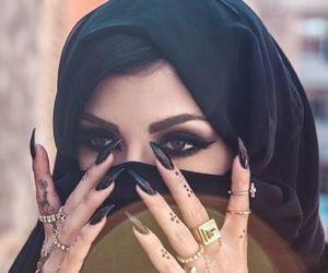 nails, black, and makeup image