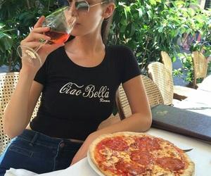 bella hadid, model, and pizza image
