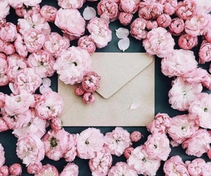 flowers, pink, and Letter image