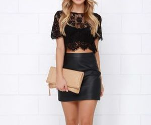 black, lace, and outfit image