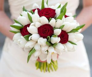 bouquet, tulips, and wedding image