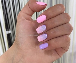 lilac, nails, and ombre image