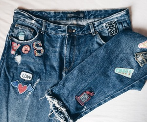 fashion, jeans, and patches image