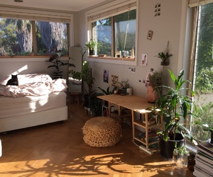 room, bed, and plants image