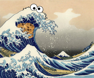 cookie monster, waves, and cookie image