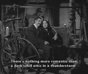 aesthetic, black and white, and the addams family image