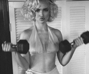 dove cameron, black and white, and Marilyn Monroe image