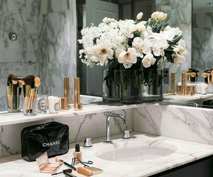 bathroom, flowers, and goals image