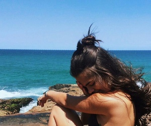 beach, brunette, and sea image