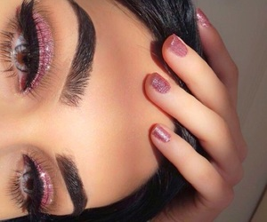 beauty, pink, and eyebrows image