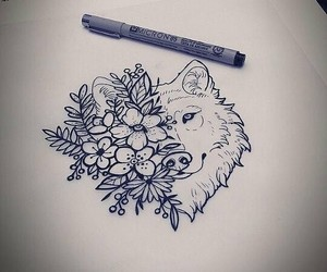 wolf, flowers, and art image
