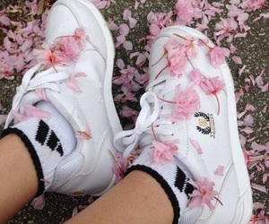 pink, flowers, and shoes image