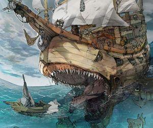 artwork, boat, and pirates image