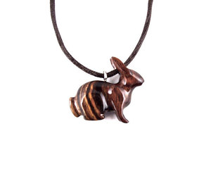 etsy, hare animal pendant, and wood jewelry image