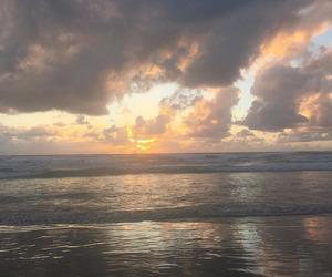 sunset, sky, and beach image