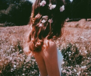 girl, flowers, and garden image