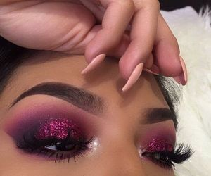 blush, eyes, and glitter image