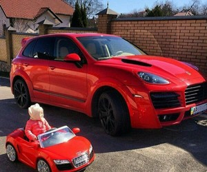 baby, car, and red image