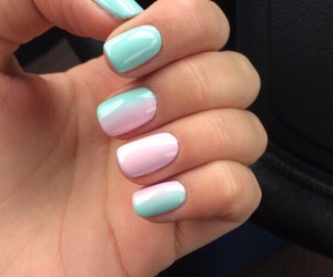 mint, nails, and pink image