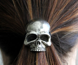 hair, skull, and cool image