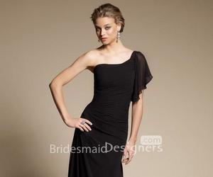 black dress, long dress, and one shoulder dress image