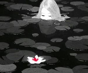 girl water flower black image