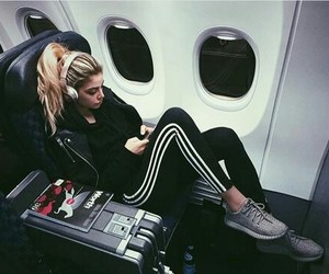 girl, travel, and adidas image