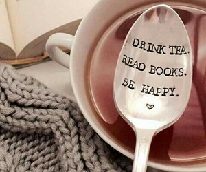 book, tea, and happy image