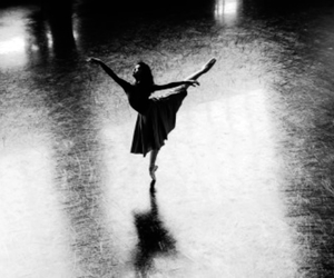 black and white, dance, and light image