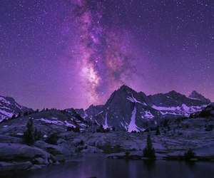 milky way, mountain, and stars image