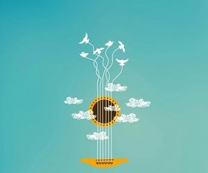 art, guitar, and bird image