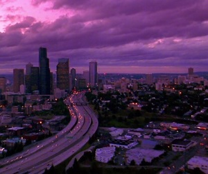 city, purple, and sky image