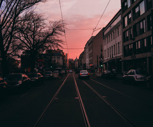 sunset, city, and pink image