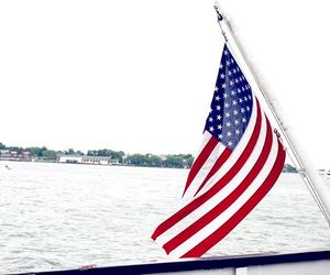 american flag, boat, and new england image
