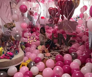 balloons, pink, and surprise image