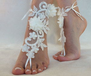bridesmaid, lace shoes, and lace foot jewellry image