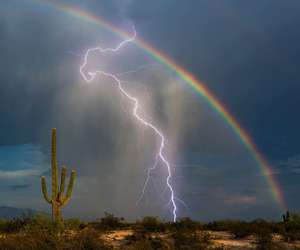 rainbow, lightning, and sky image