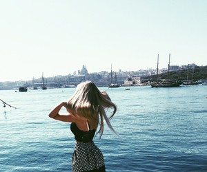 girls, summer, and travel image