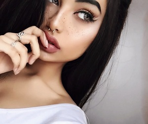 black hair, glam, and lips image