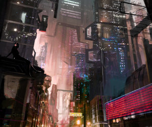 art, landscape, and cyberpunk image
