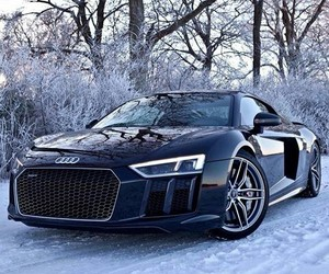 audi r8, black, and snow image