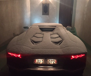 car, snow, and Lamborghini image