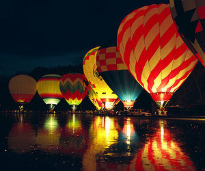balloons, light, and night image
