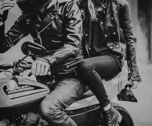 couple, black, and motorcycle image