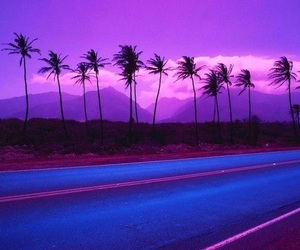 purple, road, and aesthetic image