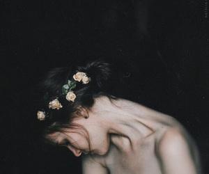 girl, flowers, and dark image