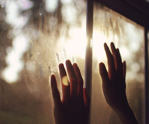 hands, window, and sun image